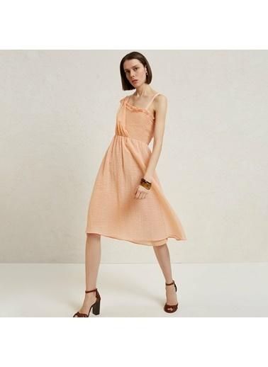 Yargıcı Kadın Asimetrik Yakalı Dizaltı Elbise 9YKEL7115X Somon